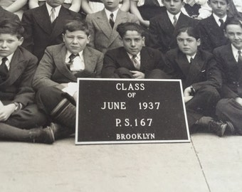 Brooklyn New York P.S. 167 Class of 1937 Original Black & White Photograph