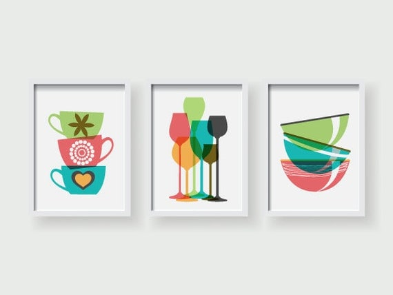 Winter sale 3 sets modern colorful kitchen decor kitchen for Kitchen wall art sets