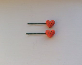 Pair of Polka Dot Padded Fabric Heart hair Slides/Kirby Grips/Bobby Pins