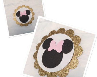 MINNIE MOUSE TAGS,  black and gold minnie mouse tags, silhouette minnie mouse tags, favor tags, princess minnie mouse tags