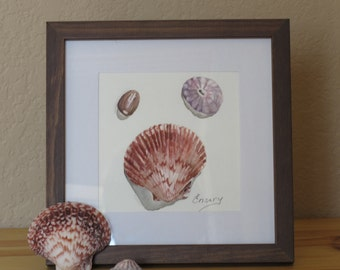Shells, Original Watercolor Painting, a Small Gift