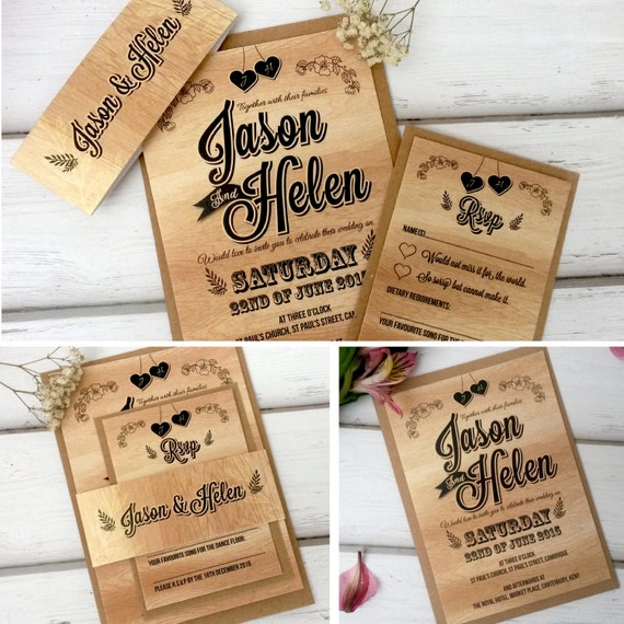 Personalised Wood Effect Vintage Wedding Invitations With