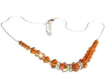 Golden TOPAZ Crystal Necklace Swarovski Elements Sterling Silver Handcrafted