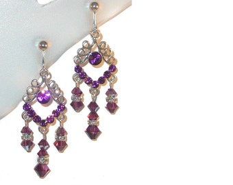 AMETHYST PURPLE Crystal Chandelier Earrings Swarovski Elements Silver Prom