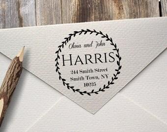 Return Address Inking Stamp - Custom Rubber Stamp - Calligraphy - Black Self Ink  Personalized Wedding Stationery - Housewarming Gift (B-17)