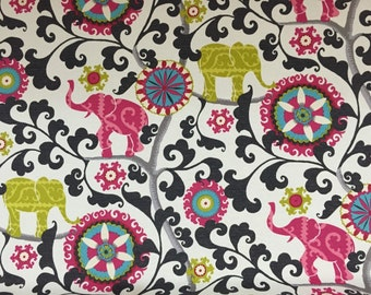 Elephants and Suzani Fun Colored Outdoor Fabric, Fabric by the yard