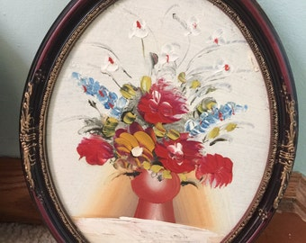Vintage Hand Painted Floral Oval Framed Picture