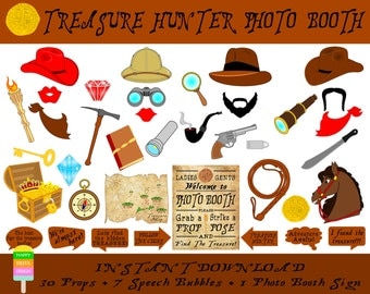 PRINTABLE Treasure Hunter Photo Booth Props-Photo Booth Sign-Treasure Hunting Photo Props-Adventure Props-PDF-JPEG-Instant Download