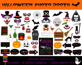 PRINTABLE Halloween Photo Booth Props–Halloween Photo Booth Sign-Printable Halloween Photo Props-Witch,Vampire Props-PDF-Instant Download