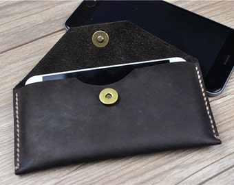 Leather iPhone 6 Plus Case, iPhone 6 Case Wallet, iPhone 5s Sleeve, Bridesmaid Gifts, iPhone Case Vintage, Flap Wallet,L64