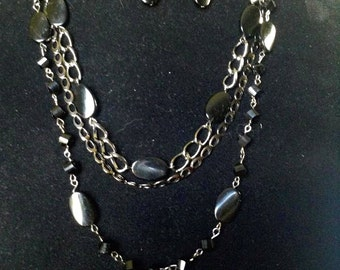 Black and Gunmetal Multistrand Necklace with Earrings