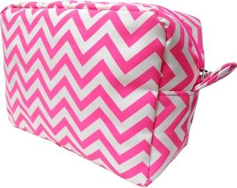 HOT PINK - Chevron Cosmetic Bag - FREE Monogram!!