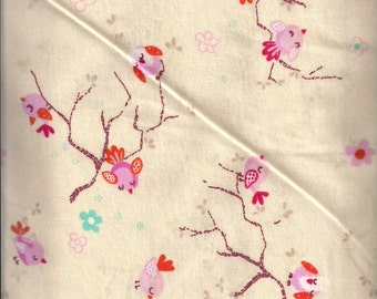 New Beige with Birds on Branches 100% cotton flannel fabric by the yard and half-yard