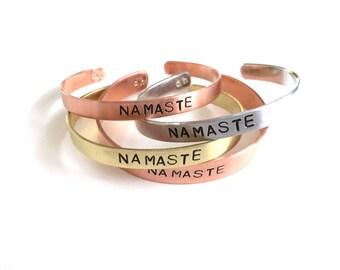 Namaste Stamped Cuff,  Yoga Jewelry, Yoga Gift