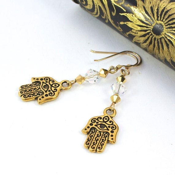 Gold Hamsa Earrings, Hamsa Earrings, Hand of Fatima Earrings, Hamsa Jewelry, Judaica Jewelry, Evil Eye Jewelry, Dangle Earrings
