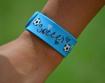 Soccer Team Gift - Soccer Gift - Silicone Slap Band Bracelet w/Ruler - Blue - Soccer Mom - Soccer Coach - Soccer Player - Soccer Team