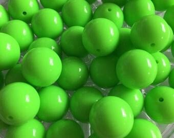 Neon Green 20mm Beads - 10pc Chunky Bubblegum Beads