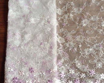 1 meter floral purple and white embroidered mesh lace trim scalloped 25cm wide