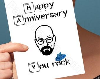 funny anniversary card. breaking bad card. walter white. heisenber anniversary card. girlfriend anniversary. boyfriend anniversary. card for