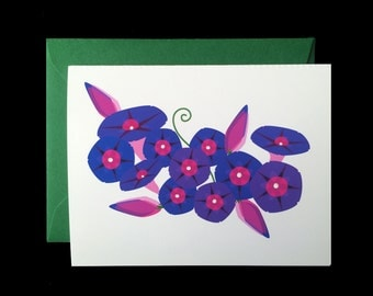 Morning Glory - Greeting Card w/ Green Envelope