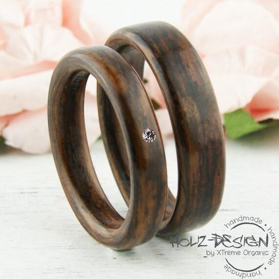 Palisander Bentwood mit Crystal Holz Ringe Eheringe Verlobungsringe ...