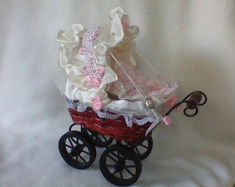 1 Super of sweet baby-carriage nostalgia brown/beige/pink with Pillow