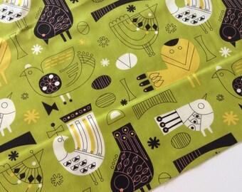 Tiki Tok Fabric, Birds in Chartreuse Green.  Mid Century Modern Fabric for Moda by Jenn Ski.