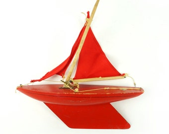 Wooden Model Boat Made In England English Metal Red Color