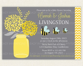Baby Shower Invitation, bee invitation, bumble bee party, Mason Jar, Bee, Chevron, Bumble,  Printable, Digital, invite
