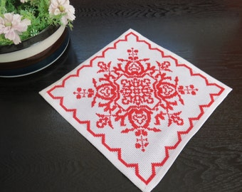 Vintage Embroidered Doily, White Red Table Decor, Scandinavian Swedish # 2-04
