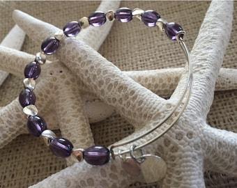 beaded bangle bracelet,adjustable bangle, crystal bangle, accent bracelet, stackable bracelet, memory wire,