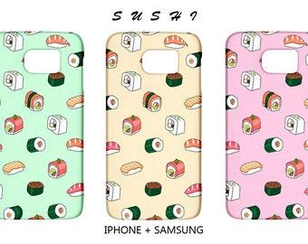 Sushi iphone case,food,kawaii,samsung case,case,s4,mint,case,iphone,s6,5s,5c,iphone 6,samsung galaxy s5,hipster,japanese,sea,fish,cute,pink