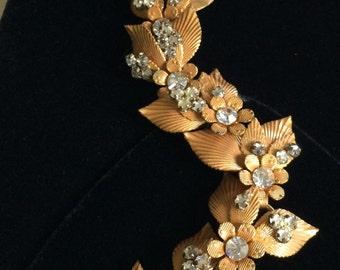 Resplendent Rare Vintage Miriam Haskell Bracelet~Gold Tone Filigree/Clear Rhinestones~Signed