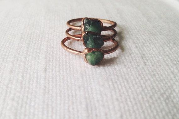 Emerald Stacking Ring Raw Emerald Ring Midi Ring