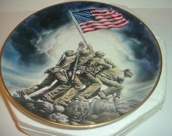 1992 Raising of the Flag on Iwo Jima Plate in foam box with COA