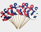 patriotic anchors cupcake toppers,  Ready in 3-5 Weekdays, 12 CT, nautical wedding, party supplies, cake decorations, baby shower, childrens