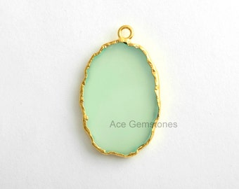 Handmade Green Chalcedony Slice Gemstone Bezel Station Micron Gold Plated Sterling Silver Bezel Connector and Charm, 1 piece