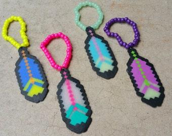 Pack of 4 Assorted Feather Perlers on Kandi bracelets, Feather Perler Bracelets, Plur Pack; Assorted Kandi Bracelets, Tomorrowworld, Edm