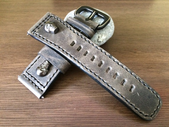 Real Leather watches strap - 28mm/24mm (w/ metal skull head & fit for all luxury watch in 47mm) - Best Deal and Quality!!