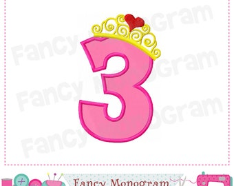Princess Crown Number 3 applique,Birthday Number 3 applique,3,Birthday Number,Princess Crown,Girl applique.