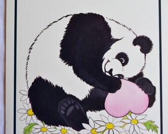 Vintage Greeting Card - Panda Heart and Daisies Friendship - 1980's Unused Current
