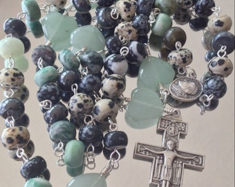Agate & Aventurine heart Rosary