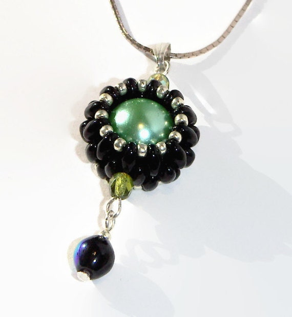 bead pendant beaded necklace black and mint green beaded