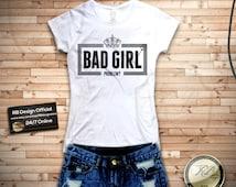 Bad Girl Problem slogan Designer White womens t-shirt short sleeve slim fit - ladies Tank Top Rihanna Miley Cyrus LA WD81