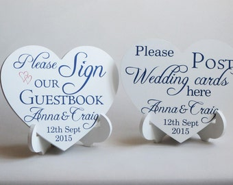 Please sign our guestbook/ post wedding cards sign on stand , heart shaped wedding sign, shabby chic wedding heart