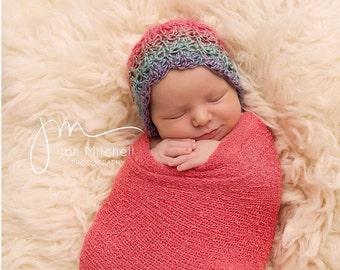 Rachel Bonnet - rainbow bonnet - newborn bonnet - photography prop bonnet - photo prop bonnet - rainbow baby bonnet