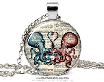 Octopus Love Dictionary Necklace - Handmade