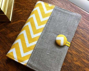 Yellow chevron, Mini legal pad portfolio, note taker, list maker made with 100% European linen, notepad and pen included