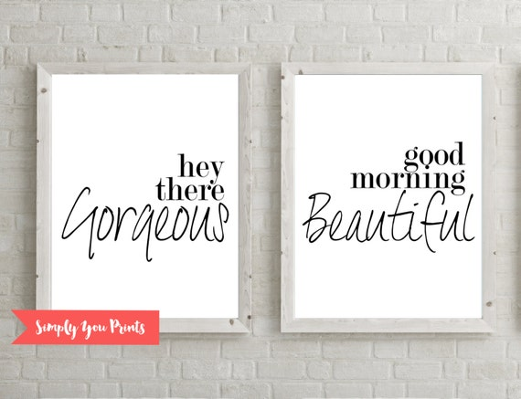Good Morning Beautiful Wall Art : Couples quote hey there gorgeous good morning beautiful