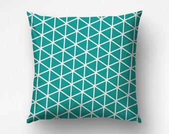 Grid Throw Pillow, Geometric Triangles, Modern Decor, Graphic Art